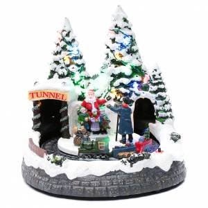 Villages de Noël miniatures: Village Noël train en mouvement et photographe 20x20x20 cm