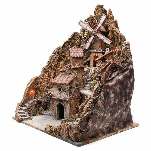 Village with windmill for Neapolitan nativity 60x58x55cm s2