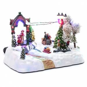 Villaggio animato albero movimento luci led musica natalizia 20x25x15 cm s3