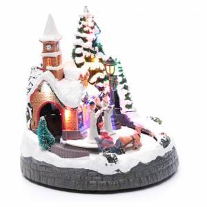 Villaggio natalizio illuminato musicale movimento carrozze 20X19X18 cm s3