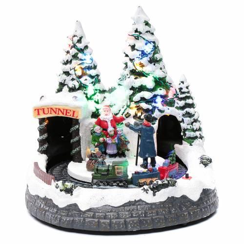 Villaggio natalizio treno in movimento e fotografo 20x20x20 cm s1