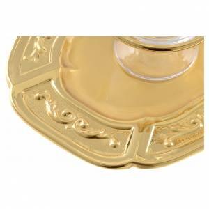 Vinajeras cristal platillo latón dorado s3