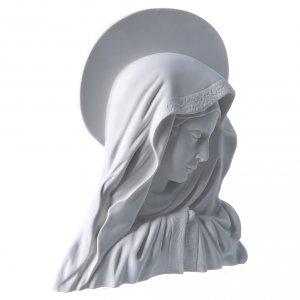 Virgen con la aureola de 28 cm en relieve mármol blanco s2
