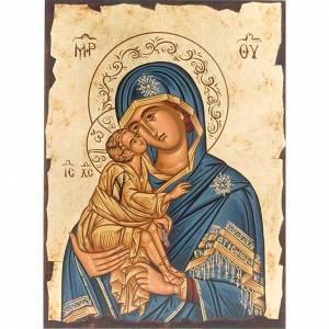 Íconos Pintados Grecia: Virgen ternura manto azul