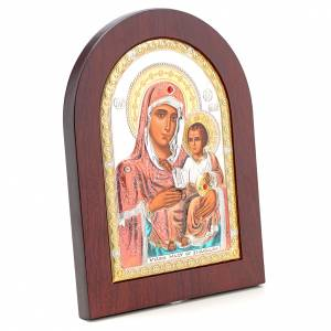 Sacred gilded icons: Virgin Mary of Jerusalem icon in silver, silkscreen printing