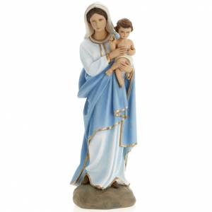 Virgin Mary with Baby Jesus statue, 60 cm in painted marble dust s1