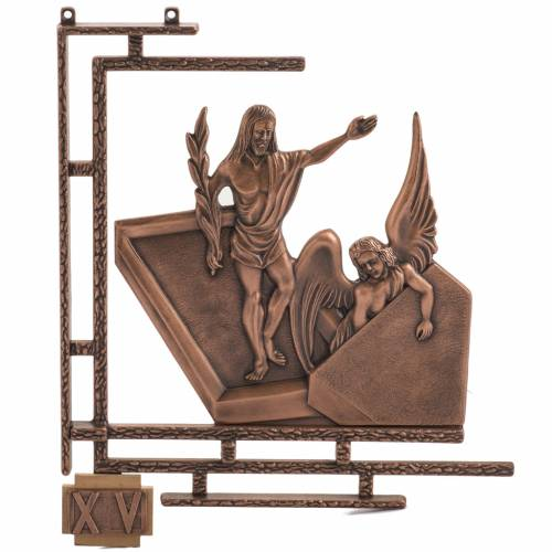 Way of the cross in copper plated bronze, 15 stations s1