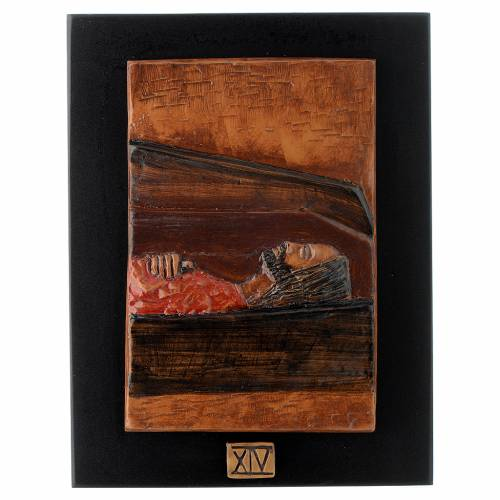 Way of the Cross in majolica backed with dark wood, 14 stations s14