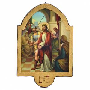 Way of the Cross: Way of the cross with 15 stations print on wood 50x35cm