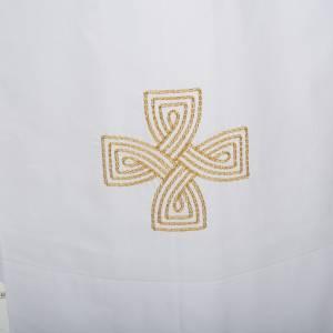 White alb cotton gold cross s2