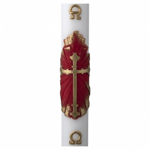 White Paschal Candle, antique cross s1