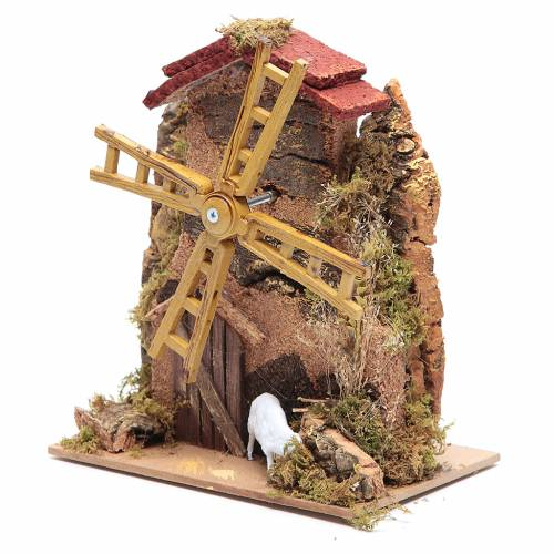 Wind mill for nativities with gear motor 15x10cm s2