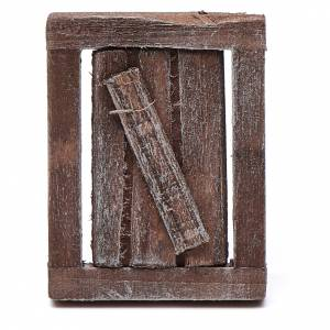 Balustrade, doors, railings: Window in wood with casing 4x3cm