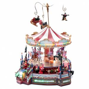 Christmas villages sets: Winter moving merry-go-round 25x30x25 cm