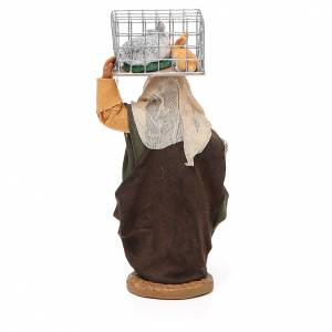 Woman with cage and basket, Neapolitan nativity figurine 10cm s3