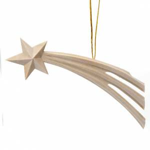 Christmas tree ornaments in wood and pvc: Wood comet star