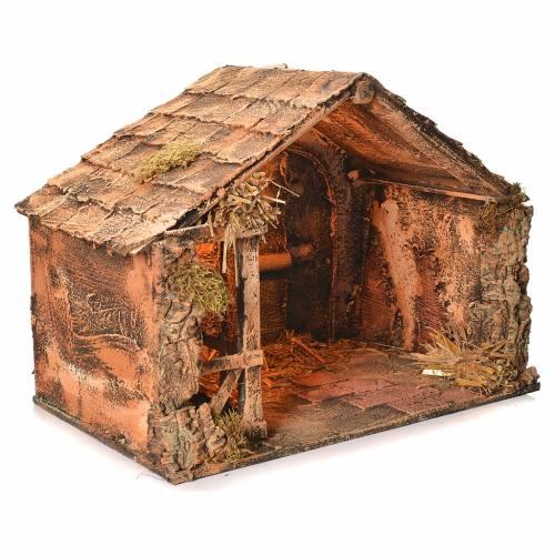 Wooden and straw cabin, Neapolitan Nativity 36x51x29cm s2