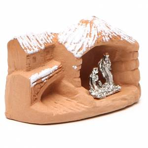 Miniature Nativity terracotta with snow 5x7x4cm s3