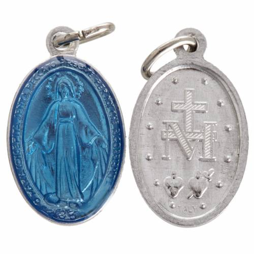 Miraculous Medal in steel and light blue enamel 18mm s1