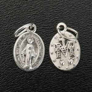 Miraculous Medal, oval shaped in silver metal 12mm s2