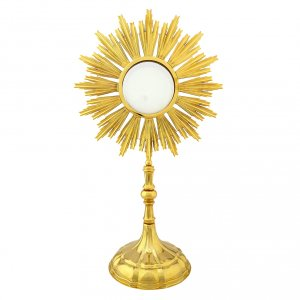 Monstrances, Chapel monstrances, Reliquaries in metal: Monstrance for Magna host in gold-plated brass H 69cm