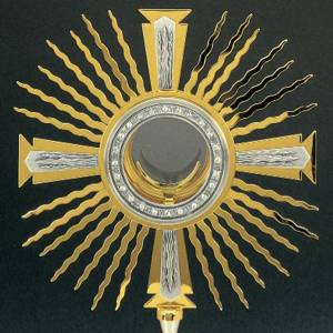 Monstrance gold and silver-plated brass, base decorated with gra s2