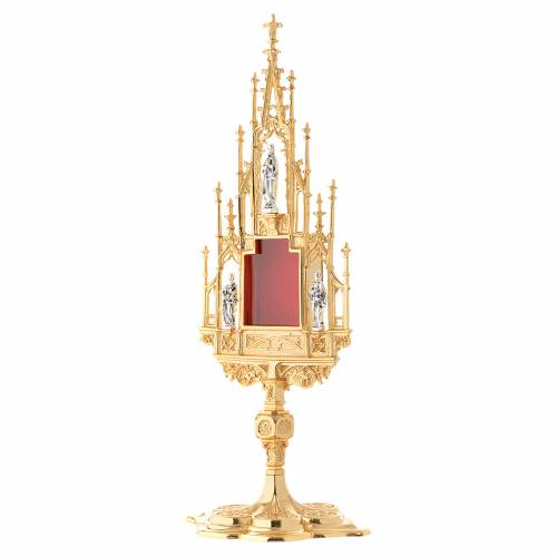 Monstrance, Gothic style in cast brass H51cm s3