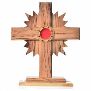 Monstrances, reliquaries in olive wood: Monstrance H20cm in olive wood with rays, display 800 silver sto