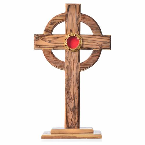 Monstrance H29cm in olive wood, octagonal display in 800 silver s1