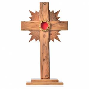 Monstrance H29cm in olive wood with rays, octagonal display 800 s1