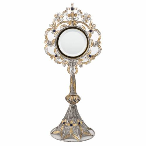 Monstrance in silver 800 filigree, removable pyx and lapis s1