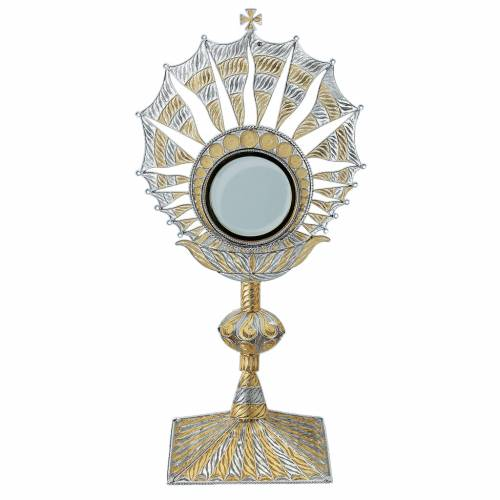 Monstrance in silver 800 gold plated filigree decoration, 8,5 cm s1
