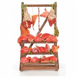 Comida en miniatura: Mostrador carnicería de cera 20x22x40 cm.