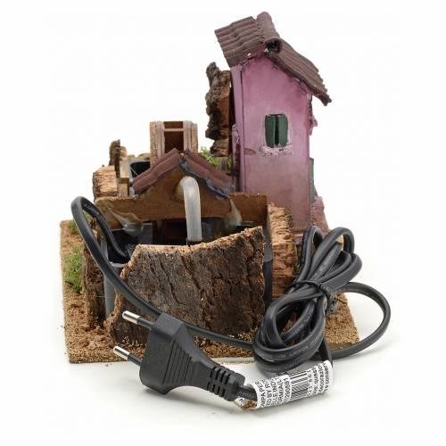 Moulin à eau électrique crèche Noel 14x17x14 s4