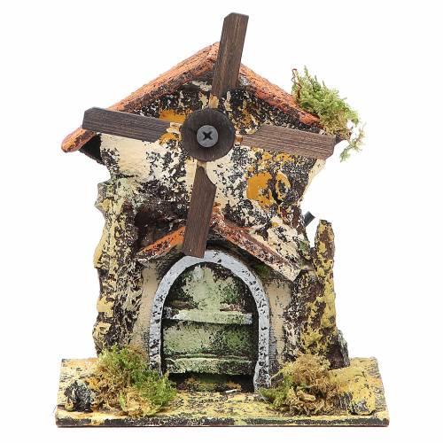 Moulin à vent 16x13x8,5 cm pale bois crèche Naples s1