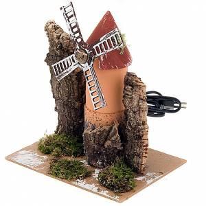 Moulin électrique pour crèche en carton et liège 19x14x16 s3