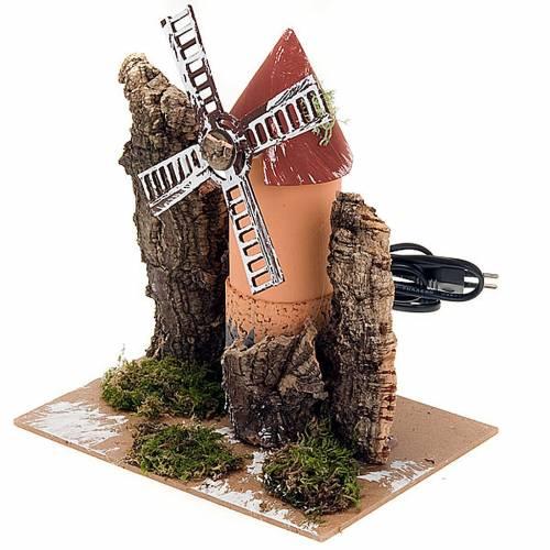Moulin électrique pour crèche en carton et liège 19x14x16 3