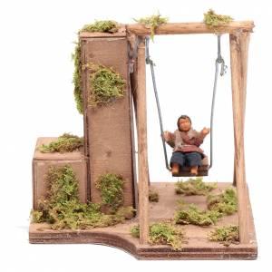 Neapolitan Nativity Scene: Moving child on the swing 10 cm for Neapolitan nativity scene