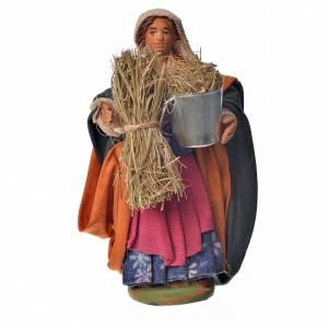 Belén napolitano: Mujer con cubo y paja 10 cm.