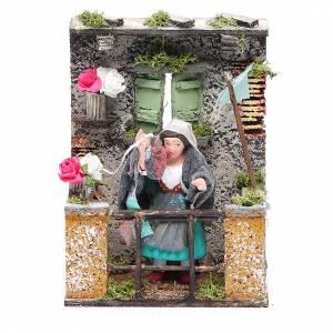 Mujer en el balcón movimiento 10 cm belén napolitano s1