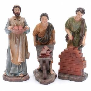 Statue per presepi: Muratori in resina per presepe da 20 cm set 3 pz.