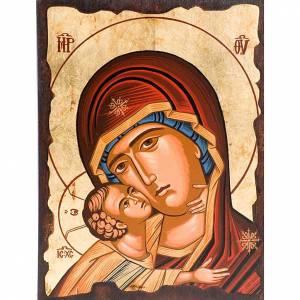 Griechische Ikonen: Mutter von Gottes der Zaertlichkeit rot Kleid