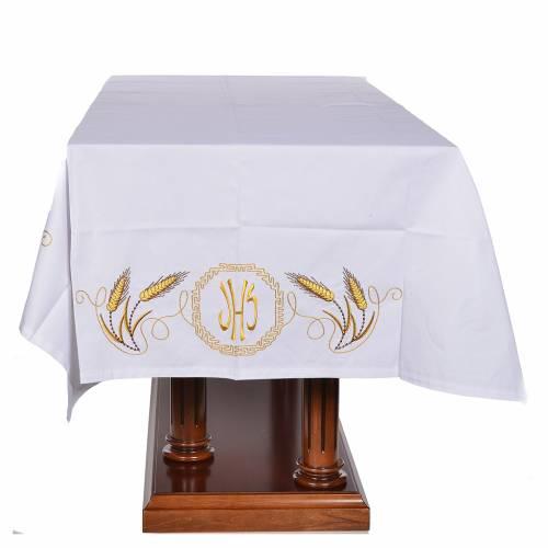 Nappe d'autel décor doré épis et symbole IHS s4
