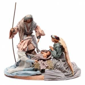 Natività: Natività con angelo su base 30 cm resina e tessuto