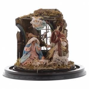 Natività con parete di stalla e angelo - cupola di vetro presepe Napoli s2