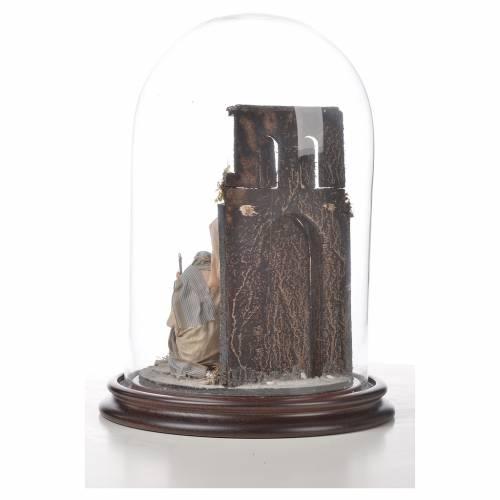 Natività Napoli terracotta stile arabo 20x30 cm campana di vetr s6