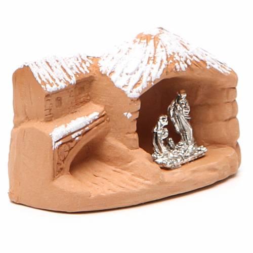 Nativité en miniature terre cuite avec neige 5x7x4 cm s3