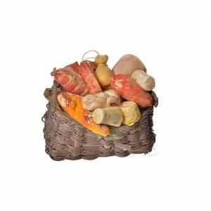 Miniature food: Nativity accessory, cold meat basket in wax, 10x7x8cm