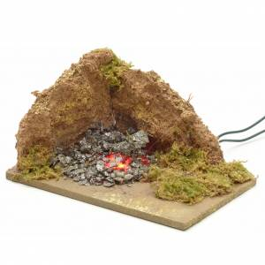 Nativity accessory, corner brazier with 1 flickering LED light 1 s2