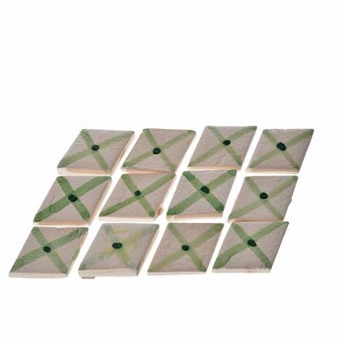 Nativity accessory, enamelled terracotta tiles, diamond, 60pcs, s1